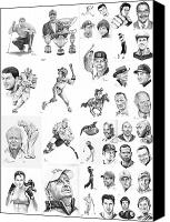Football Drawings Canvas Prints - Sports Figures Collage Canvas Print by Murphy Elliott