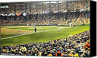 Baseball Painting Canvas Prints - Sportsmans Park In St. Louis Mo 1943 Canvas Print by Dwight Goss