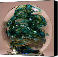 Art Sculpture Glass Art Canvas Prints - Spot of Teal Canvas Print by David Patterson