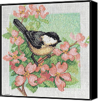 Jem Fine Arts Mixed Media Canvas Prints - Spring Birds - Black-Capped Chickadee Canvas Print by J McCombie