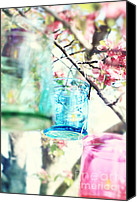 Tree Blossoms Canvas Prints - Spring Blossoms and Candles Canvas Print by Stephanie Frey