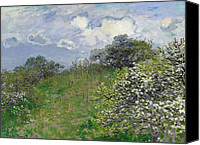 Signed Painting Canvas Prints - Spring Canvas Print by Claude Monet