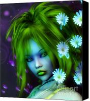 Faerie Canvas Prints - Spring Elf Canvas Print by Jutta Maria Pusl