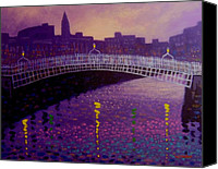 Violet Prints Canvas Prints - Spring Evening Ha Penny Bridge Dublin Canvas Print by John  Nolan