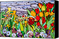 Mosaic Glass Art Canvas Prints - Spring FLoral Mosaic Canvas Print by Liz Shepard