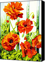 Garden Painting Canvas Prints - Spring Poppies Canvas Print by Janis Grau