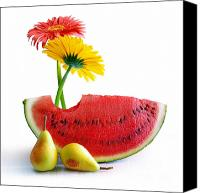 Snack Canvas Prints - Spring Watermelon Canvas Print by Carlos Caetano