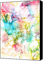 Alcohol Ink Canvas Prints - Springtime Blossoms Canvas Print by Christine Crawford
