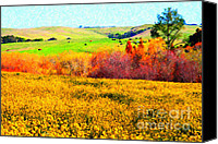Rural Landscapes Digital Art Canvas Prints - Springtime In The Golden Hills . 7D12402 Canvas Print by Wingsdomain Art and Photography