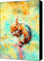 Squirrel Painting Canvas Prints - Squirrel At Breakfast Canvas Print by Rosalina Atanasova