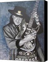 Guitar Painting Canvas Prints - SRV - Stevie Ray Vaughan  Canvas Print by Eric Dee