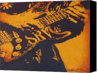 Ray Canvas Prints - SRV  Number One Fender Stratocaster Canvas Print by Eric Dee