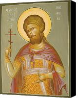 Egg Tempera Canvas Prints - St Alexander Nevsky Canvas Print by Julia Bridget Hayes