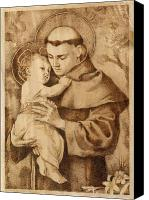 Wood Pyrography Canvas Prints - St. Anthony Canvas Print by Conrad  Pinto