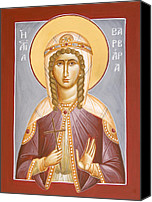 Icon Byzantine Canvas Prints - St Barbara Canvas Print by Julia Bridget Hayes