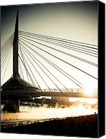 Retro Style Canvas Prints - St. Boniface Bridge at Winter Sunrise Canvas Print by Michael Knight