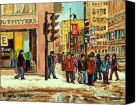 Transform Painting Canvas Prints - St Catherine And Peel  Downtown Montreal Canvas Print by Carole Spandau