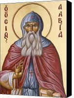 Icon Byzantine Canvas Prints - St David of Evia Canvas Print by Julia Bridget Hayes