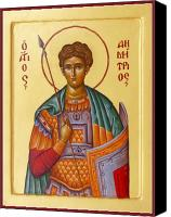 Icon Byzantine Canvas Prints - St Demetrios the Great Martyr and Myrrhstreamer Canvas Print by Julia Bridget Hayes