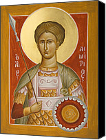 Icon Byzantine Canvas Prints - St Demetrios the Myrrhstreamer Canvas Print by Julia Bridget Hayes
