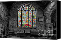 Graveyard Canvas Prints - St Dyfnog Window Canvas Print by Adrian Evans