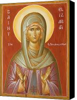 Egg Tempera Painting Canvas Prints - St Elizabeth the Wonderworker Canvas Print by Julia Bridget Hayes