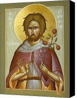 Byzantine Canvas Prints - St Euphrosynos the Cook Canvas Print by Julia Bridget Hayes