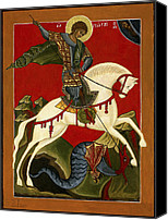 Egg Tempera Painting Canvas Prints - St George and the Dragon Canvas Print by Raffaella Lunelli
