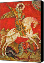 Byzantine Icon Canvas Prints - St George II Canvas Print by Tanya Ilyakhova