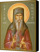 Byzantine Icon Canvas Prints - St Gerasimos of Kefalonia Canvas Print by Julia Bridget Hayes