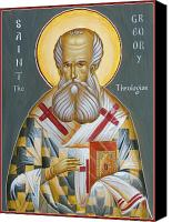 Egg Tempera Painting Canvas Prints - St Gregory the Theologian Canvas Print by Julia Bridget Hayes