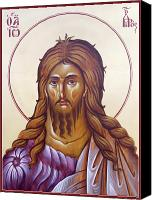 Icon Byzantine Canvas Prints - St John the Forerunner and Baptist Canvas Print by Julia Bridget Hayes