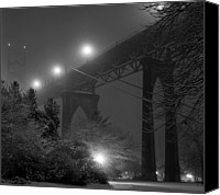 Tree Canvas Prints - St. Johns Bridge On Snowy Evening Canvas Print by Zeb Andrews