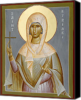 Icon Byzantine Canvas Prints - St Kyriaki Canvas Print by Julia Bridget Hayes
