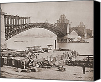River Transportation Canvas Prints - St. Louis Bridge Under Construction Ca Canvas Print by Everett