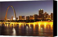 Waterfront Canvas Prints - St Louis Skyline Canvas Print by Bryan Mullennix