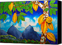 Silk Postcard Tapestries - Textiles Canvas Prints - St. Lucia Cocoa Canvas Print by Daniel Jean-Baptiste