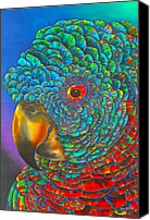 Silk Postcard Tapestries - Textiles Canvas Prints - St. Lucian Parrot Canvas Print by Daniel Jean-Baptiste