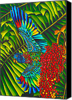 Silk Postcard Tapestries - Textiles Canvas Prints - St. Lucias Bird of Paradise Canvas Print by Daniel Jean-Baptiste