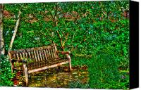 Greenwich Canvas Prints - St. Luke in the Field Garden Bench Canvas Print by Randy Aveille