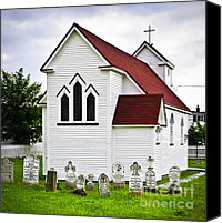 Graveyard Canvas Prints - St. Lukes Church and cemetery in Placentia Canvas Print by Elena Elisseeva