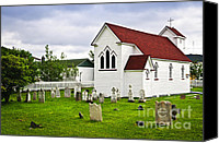 Graveyard Canvas Prints - St. Lukes Church in Placentia Newfoundland Canvas Print by Elena Elisseeva