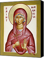 Icon Byzantine Canvas Prints - St Margarita Canvas Print by Julia Bridget Hayes