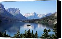 Montana Digital Art Canvas Prints - St Mary Lake - Glacier National Park MT Canvas Print by Christine Till