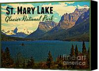 Montana Digital Art Canvas Prints - St. Mary Lake Glacier National Park Canvas Print by Vintage Poster Designs