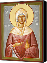 Egg Tempera Painting Canvas Prints - St Mary Magdalene Canvas Print by Julia Bridget Hayes