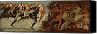 Monster Painting Canvas Prints - St. Michael and the Angels at War with the Devil Canvas Print by Domenico Ghirlandaio