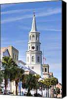 Charleston Sc Harbor Tours Canvas Prints - St Michaels Church Charleston SC 3 Canvas Print by Dustin K Ryan