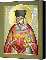 Icon Byzantine Canvas Prints - St Nicholas Planas Canvas Print by Julia Bridget Hayes