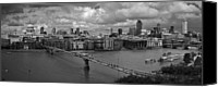 Christopher Wren Canvas Prints - St Pauls and the City panorama BW Canvas Print by Gary Eason